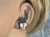 Silver multicolor cat square stud earrings 57