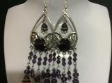 Silver purple crystal chandelier earrings 51