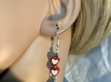 Silver red heart valentines earrings 41