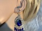 Silver royal blue chandelier earrings 52
