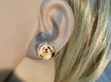 Silver Yorkie dog stud earrings 56