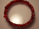 Small Red Beaded Memory Wire Bracelet