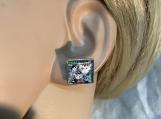 Square post cat stud earrings 40
