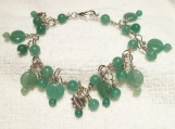 Beautiful Genuine Aventurine Gemstone Discs,Beads and Silver Hearts Bracelet