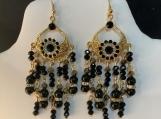 Pmc Gold black crystal chandelier earrings 67