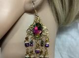 Pmc Gold rainbow crystal chandelier earrings 65