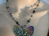 Rainbow crystal butterfly necklace earring set 27