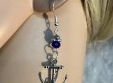 Silver anchor blue crystal earrings 64