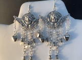 Silver angel heart Valentines chandelier earrings 68