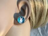 Pmc Silver aqua Llama stud earrings 58