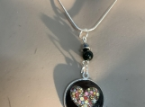 Pmc Silver black heart necklace earring set 26