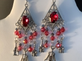Silver red crystal wine lover chandelier earrings 62