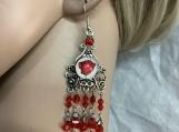 Silver red rose chandelier earrings 63