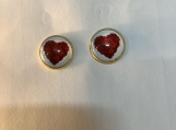 Gold red heart valentine stud earrings 72