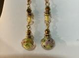Gold Yellow pink flower dangling earrings 76