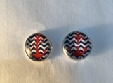 Red blue anchor stud earrings 74