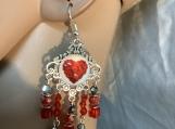 Red heart Valentines chandelier earrings 69