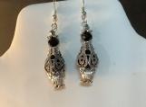 Silver black crystal vintage look earrings 71