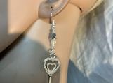 Silver heart key clear crystal valentine earrings 77