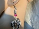Silver hot pink angel wing heart valentine earrings 78