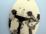 Around the water fountain children at play summer fun large pendant