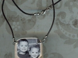 "sterling silver/leather  handstamped ""love"" personalized photo necklace"