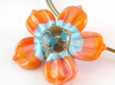 Sweet Peach Bloomkin Lampwork Pendant - Angelfire Art Glass