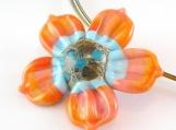 Sweet Peach Bloomkin Lampwork Pendant - Angelfire Art Glass