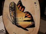 """""""Change"""" Butterfly Painting on Wood (5 inches in diameter / wood)"""