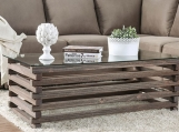Weathered Wood Coffee Table | Rustic Look Coffee Table |  Farmhouse Oak Coffee Table