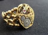 Steampunk brass filigree watch movement ring