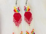 Fringed Red Dress Earrings