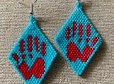 Red Hand Beaded Earrings