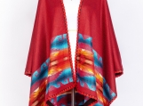 Hand-Woven Pashmina Reversible Wool Poncho, Ethnic Style (Pink / Blue)