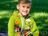 Kids Handknited Embroidered Wool Hoodie (Green)