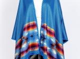 Reversible Hand-woven Pashmina Wool Poncho, Ethnic Style (Blue / Black)
