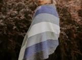 Alpaca Shawl, Wrap or Scarf, Handmade from Ecuador (rayures bleues)