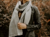 Alpaca Wol Shawl / Chic Oversized Scarf, Grey Stripes (Gray)