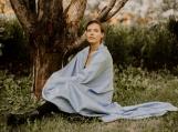 Alpaca Wool Cozy Boho Throw Blanket, Neutral Color, Warm & Cozy (Blue)