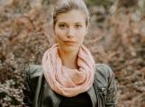 Alpaca Wool Infinity Fall Scarf, Warm & Lightweight (Pink)