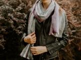Alpaca Wool Shawl or Scarf, Grey & Lilac Stripes (Grey and lilac)