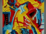 """""""BLUE, YELLOW, RED"""", Native Canadian , Original Acrylic on Paper"""