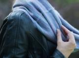 Grey & Blue Alpaca Wool Infinity Scarf (gris p??le)