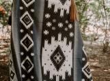Inca Tribal Native Blanket, Warm Alpaca Wool (Queen) (Gray)