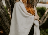 Luxurious Beige Alpaca Wool Throw Blanket, Warm Enough for Andes Mountains (Beige)