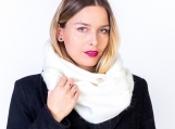 White Alpaca Wool Cozy Oversized Infinity Scarf (White)