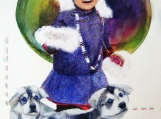 """""""Inuit Girl with her Puppies"""", Original Native Canadian Painting"""