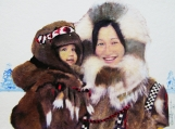 """Inuit Mother and Child!"", Original Native Canadian Painting"