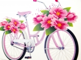 """""""My daughter, her bicycle and flowers!"""", Original Native Canadian Painting"""