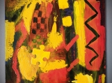"""""""RED, YELLOW & PUZZLE"""", Original Native Canadian Painting, Acrylic on Paper"""